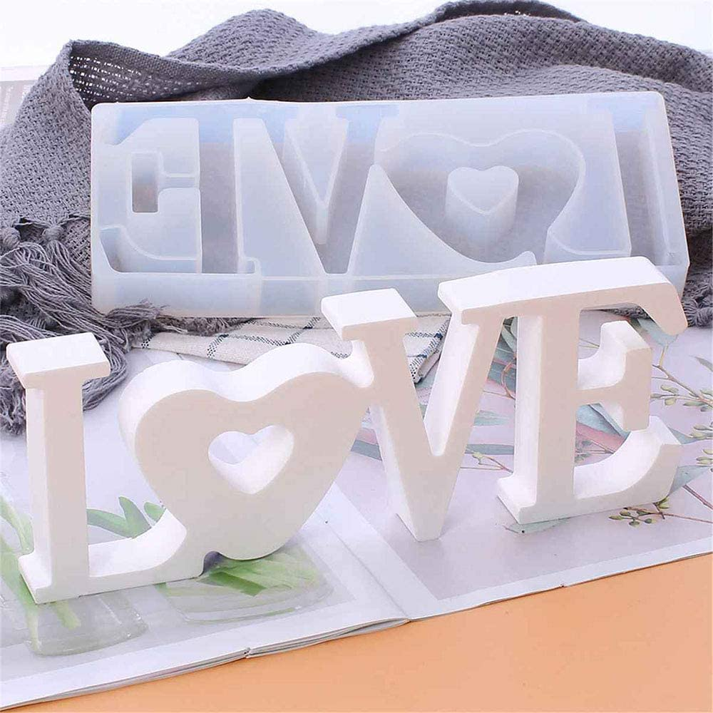 Epoxy Resin Molds for DIY Table Decoration Wedding Love Resin Mold MEMOVAN Love Silicone Mold Valentines Day Gifts Love Sign Word Mold with Fairy Light