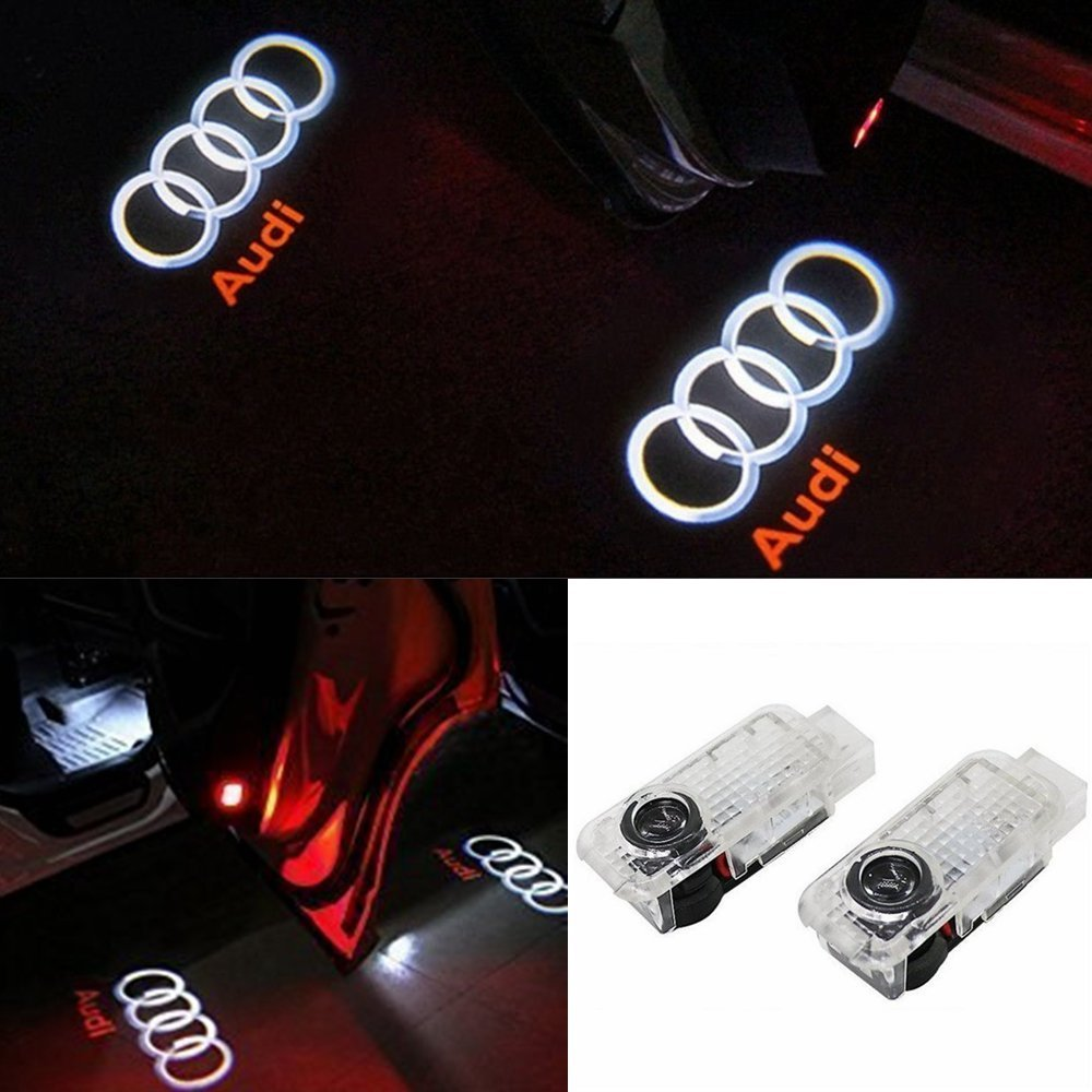 ANKIA 2 Pcs Car Door LED Logo Light Laser Projector Lights for Audi, Ghost Shadow Welcome Lamp Courtesy Light for Audi A4 A3 A6 A5 A7 A8 Q3 Q7
