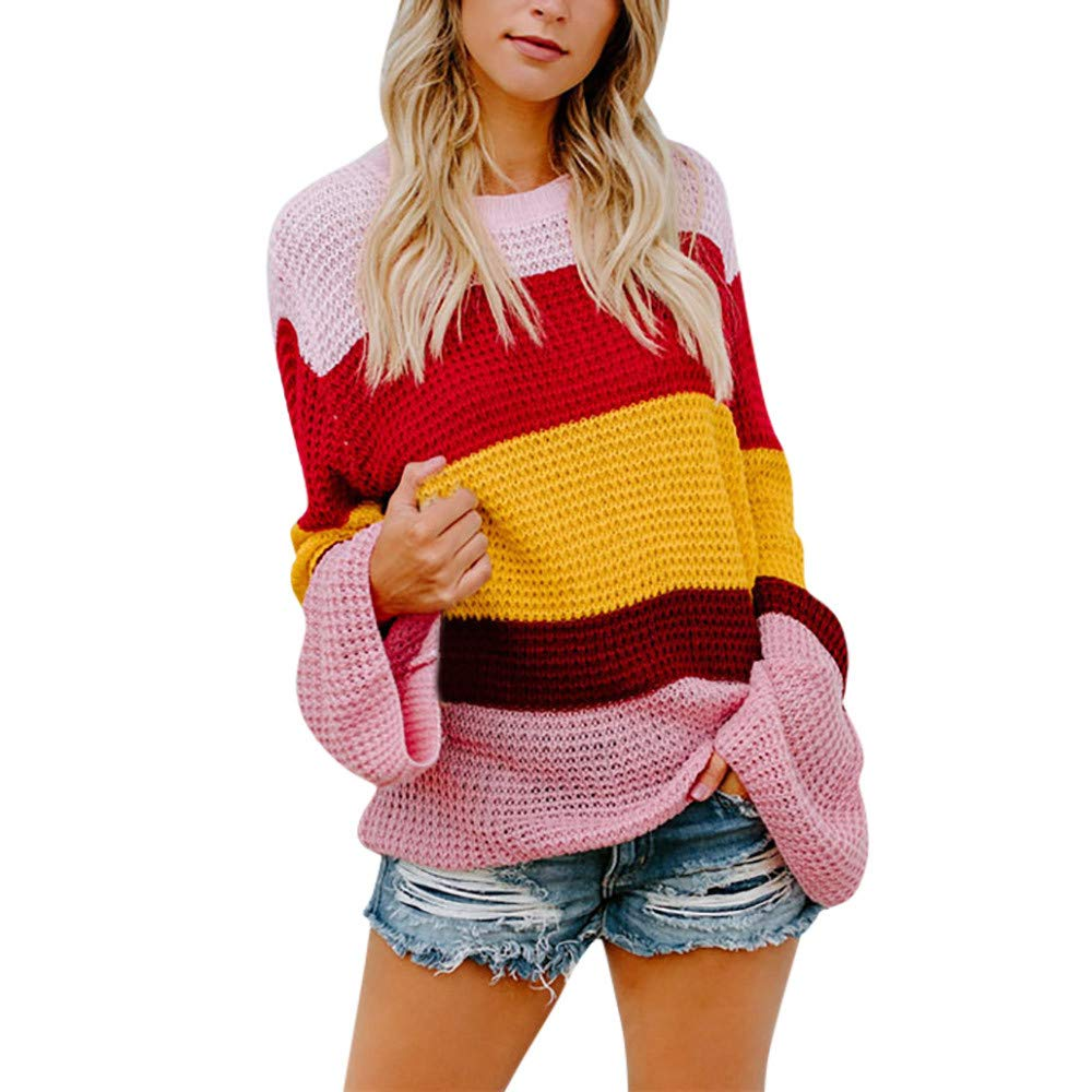 Inverlee Womens Multicolor Striple Sweater Casual Knitted Loose Long Sleeve Pullover