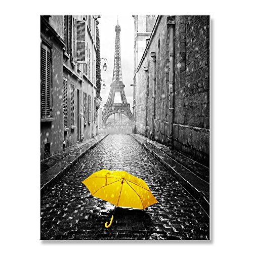 Genius Decor – Modern Black Gray and Yellow Decor, Paris Effiel Tower Rainy Day Yellow Umbrella Canvas Wall Art Print Decoration