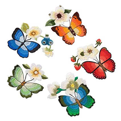 3 Pack Delicate Embroidered Patches Orange Butterfly Embroidery Iron On Patch