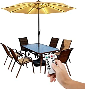 Patio Umbrella Lights Cordless Fairy String Lights with Remote Control 8 Brightness Mode LED Umbrella Pole Light Wireless Battery Operated Waterproof for Umbrella Outdoor Garden Decoration-Warm White