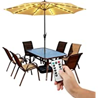 Patio Umbrella Lights Cordless Warm White String Lights with Remote Control 8 Brightness Mode LED Umbrella Pole Light Wireless Battery Operated Waterproof for Umbrella Outdoor Garden Decoration