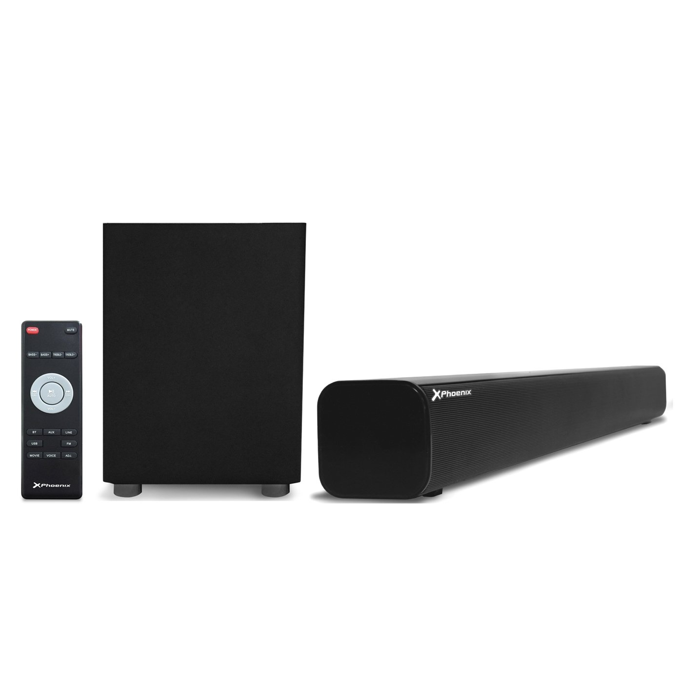 Phoenix Technologies –  Kit barre de son bluetooth + subwoofer Wireless Phoenix phsbbtwsub 25 W + 18 W/USB/Radio FM/Entré e/Sortie/subwoofer ACA