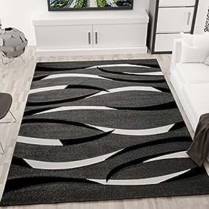 Vimoda Alfombra de diseño, motivo líneas onduladas en gris, negro y blanco, contorno cortado a mano, Maße:160x230 cm
