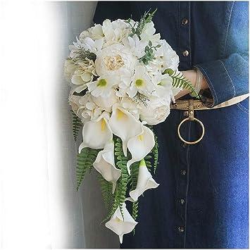 Artificial Flower Dark Blue//White Peony Teardrop Bridal Wedding Bouquet Set