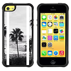 "Hypernova Defender Series TPU protection Cas Case Coque pour Apple iPhone 5C [Árboles Negro Playa Blanca fotos""]"
