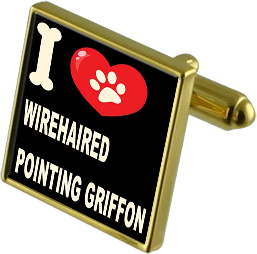 Select Gifts I Love My Dog Gold-Tone Cufflinks Wirehaired Pointing Griffon