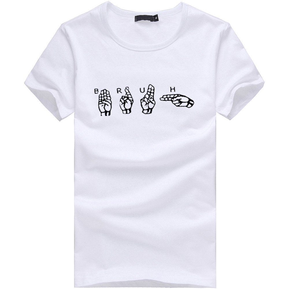 MILIMIEYIK Blouse Men boy Plus Size Finger Print tees Short Sleeve Cotton t Shirt Blouse Tops Pullover t-Shirt tee