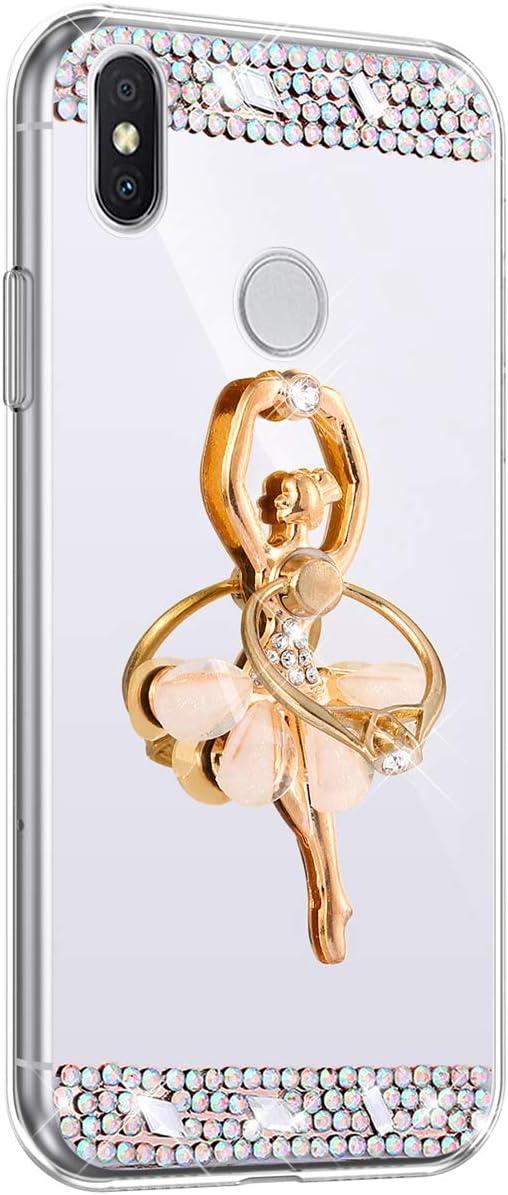 Herbests Compatible avec Xiaomi Redmi S2 Coque Miroir Etui Beau Fantaisie Paillette Strass Fille Dansante Mirror Silicone Cover avec Anneau Anti-Rayures Housse Protecteur,Argent