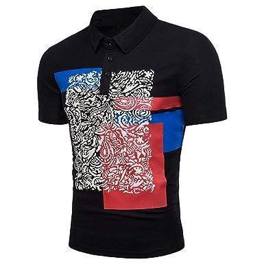 Kanpola Poloshirt Herren Slim Fit Shirt Aufdruck Sommerhemd Männer Kurzarm  Polo Shirts Tops fda46f4ae1