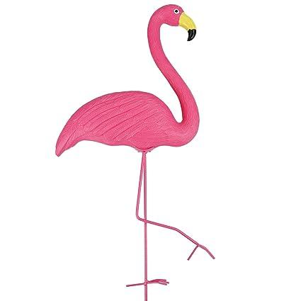 Adorno de plástico para jardín, diseño de flamenco rosa, para exteriores, verano,