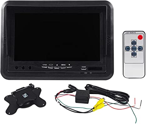 "Rockville RMDM701 7/"" Dash Mount Car Reverse Monitor w// Sun Shade+Swivel Bracket"