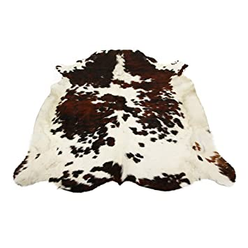 High Quality Tricolor Brazilian Cowhide Rug Cow Hide Skin Leather Area Rug: LARGE