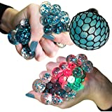 Upgraded Led Anti Stress Ball - Squishy Light up Ball - Anti Stress Toys - Toys for Kids - Mesh Stress Ball - Grape Ball - DNA Ball - Slime Stress Ball - ADHD Fidget Toys - Net Stress Squishy Ball