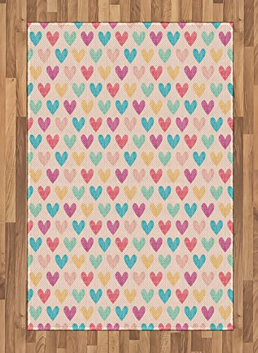 Cheap  Ambesonne Valentines Area Rug, Weathered Looking Colorful Hearts on a Peach Background..