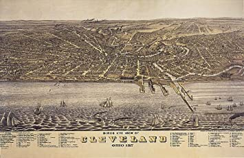Amazoncom BIRDS EYE VIEW 1877 CLEVELAND OHIO MAP LARGE VINTAGE