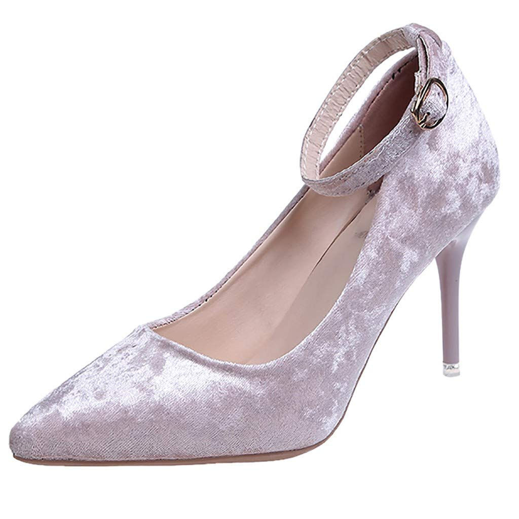 Jiayit Womens Ankle Strap Thin High Stiletto Heel Pumps Flock Work Party Pointed Shoes High Heel Closed Toe Classic Wedding Pearl Dress Pumps for Women