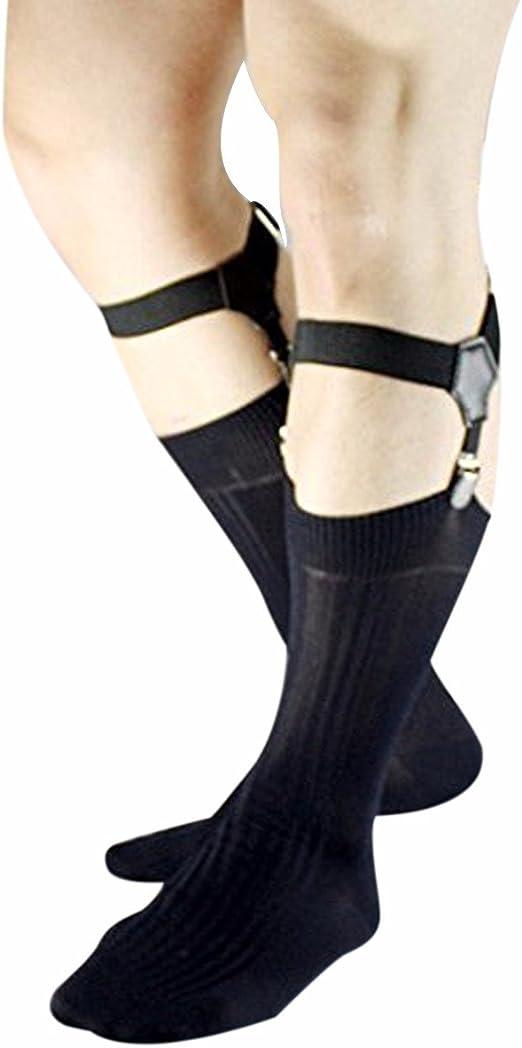 Men/'s Adjustable Sock Garter Belt Grips Suspender with Metal Clips Accessoriesor