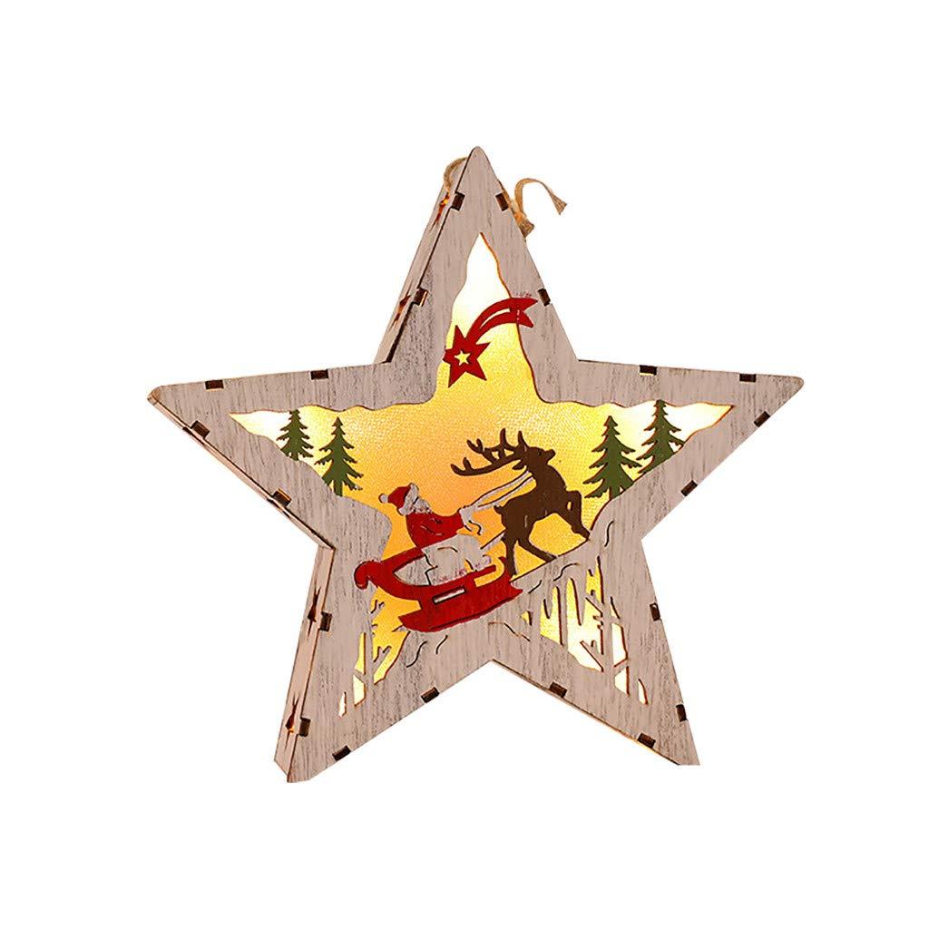 JJHAEVDY LED Light Wooden Hanging Ornaments for Christmas Tree Deco Star Moon Heart Glitter Xmas Pentagram Pendant