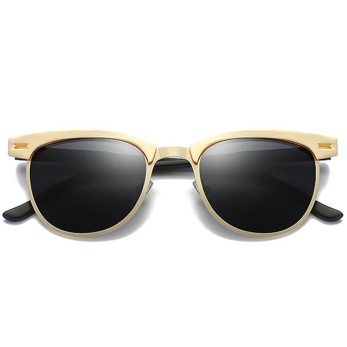 JULI Polarisierte Sonnenbrille Frauen Männer Retro Marke Semi Randlos Designer Classic Wb0dzePP