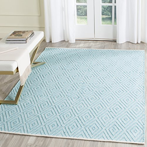 Safavieh Montauk Collection MTK811H Handmade Flatweave Turquoise and Ivory Cotton Area Rug (3' x 5') Luxe Cotton Collection