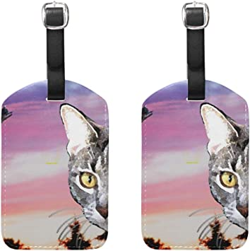 Rainbow Cats Luggage Tag Label Travel Bag Label With Privacy Cover Luggage Tag Leather Personalized Suitcase Tag Travel Accessories