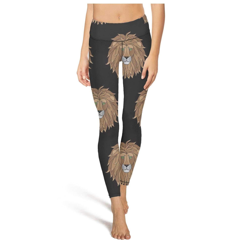 df59887c45f Embroidery Lion Head Medium Shadfyvgf Funky High Waisted Yoga Pants ...