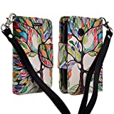 lg 305c phone case - LG 306G 305C Case, LG Aspire LN280 (Tracfone StraightTalk Net10), Magnetic Closure Leather Flip Wallet Case with 2 Card Slots, Cash Compartment and Wrist Strap for LG 306G 305C (COLORFUL TREE)