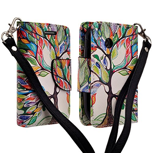 LG 306G 305C Case, LG Aspire LN280 (Tracfone StraightTalk Net10), Magnetic Closure Leather Flip Wallet Case with 2 Card Slots, Cash Compartment and Wrist Strap for LG 306G 305C (COLORFUL TREE)