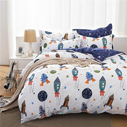 Toddler Bedding for Boys Space Ship Bedding Set Rockets Bedding Duvet Cover Set 3-Piece King Size(No Comforter Included) (Alien Duvet)