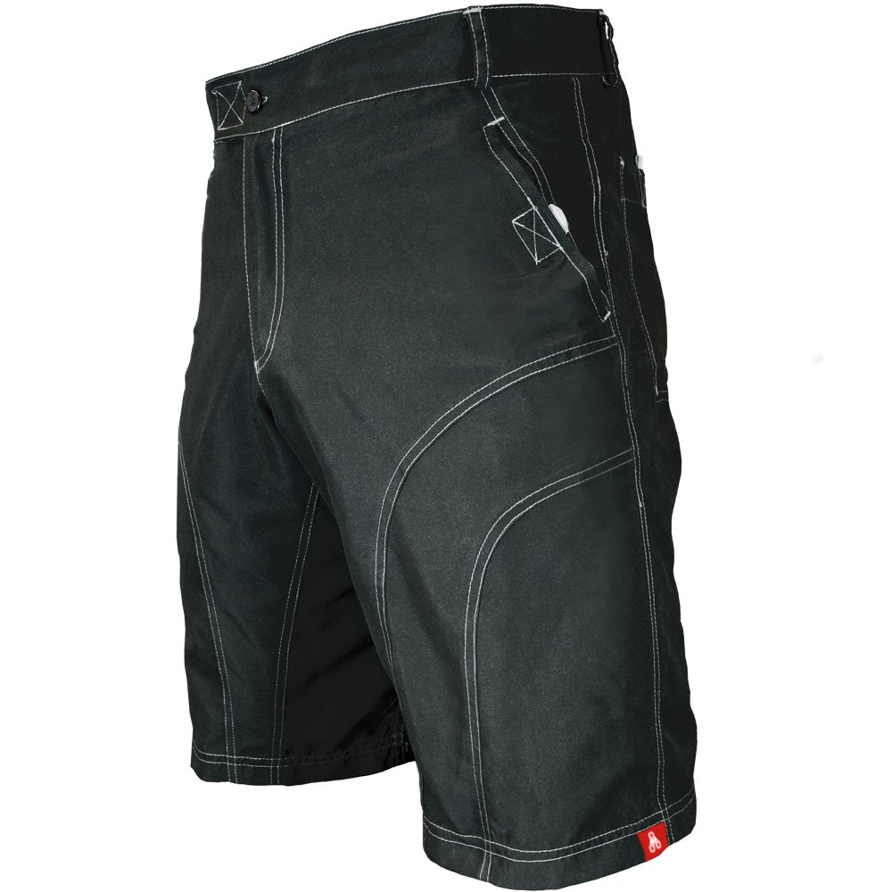 The Pub Crawler - Men's Loose-Fit Bike Shorts for Commuter Cycling or Mountain Biking, with Secure Pockets (Medium, Black - Without Padded Undershorts)