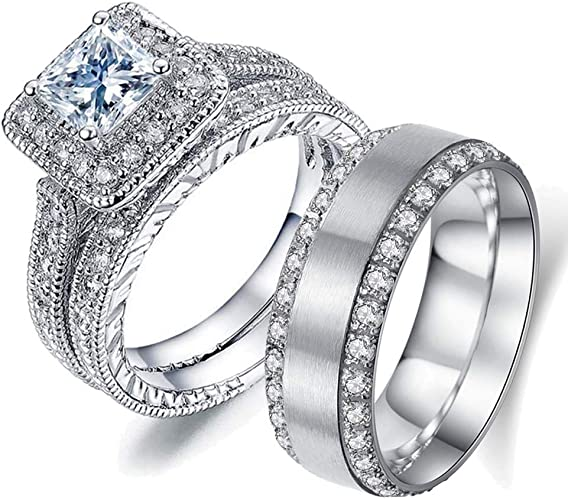His and Hers Couples CZ lnlaid Wedding Engagement Anniversary Ring Band SZ 5-12