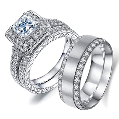 Amazon Com Gy Jewelry Two Rings His And Hers Wedding Ring