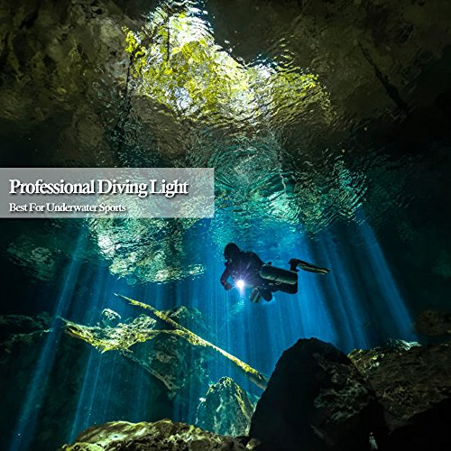 Aidisun 3000 k High Lumens XML- L2 LED Expert Diving Flashlight Rechargeable Torch Snorkeling Tactical Handheld Flash Light for Professional Scuba Dive Underwater Camping Working Hunting Fishing by Aidisun (Image #2)
