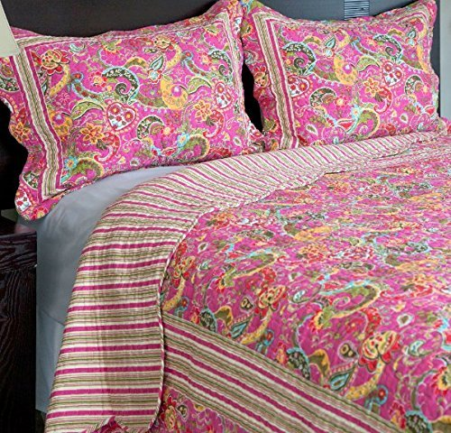 med Quilt Full Queen Set, Hippy Indie Inspired, Colored Bohemian Kashmir Bedding Paisley Swirls, Pink Blue Orange, Stripes Pattern, Vibrant Colors ()