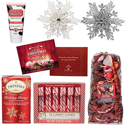 Christmas Gift Basket for Women: Ornaments, Tea, Candy Cane, Hand Cream, Potpourri Set for Her by Charmed Crates (Image #1)