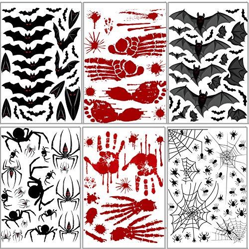 Handprint Footprint Art Halloween (Halloween Decorations Set - Bat Spider Wall Sticker Bloody Footprints Floor Clings Decor Art for Wall)