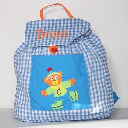 Bolsa mochila oso patinador, en tela vichy cuadros azules y blancos, personalizada con nombre