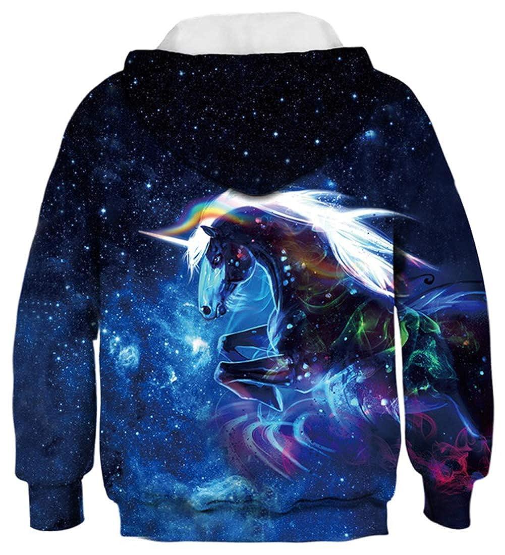 OPCOLV Unisex Teens Kids Hoodie 3D Print Girls Sweatshirt Hooded Pullovers 6-16 Years