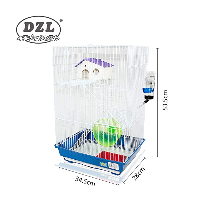 DZL jaula para hamster(34.5X28X53.5CM) color azul verde y prupura ...