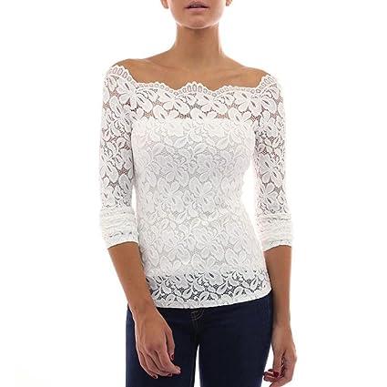 c3a996b5793c68 Btruely Tops Damen Mädchen Langarm Shirt Trägerlos Bluse Elegantes T-Shirt  Sexy Top Lace Hemd