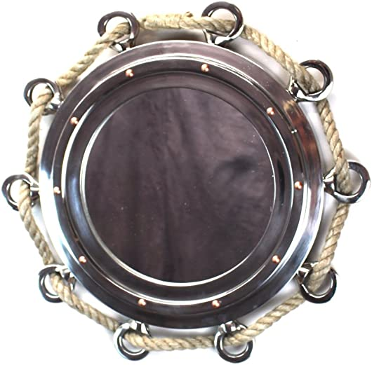 The King s Bay Big Silver Finish Porthole Mirror with Rope Nautical Ships Boat Decor