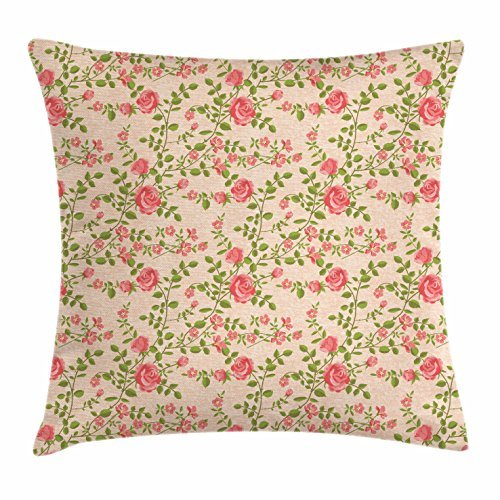 Shabby Chic Throw Pillow Cushion Cover, Spring Season in the Countryside Themed Pattern with Flowering Branches, Decorative Square Accent Pillow Case, 18 X 18 Inches, Coral Peach Green (Sofa Shabby Chic Pillows)