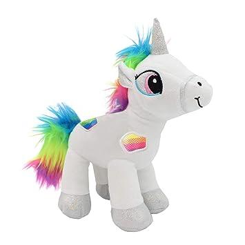 Amazon Com Emelem Unicorn Stuffed Animal Soft Plush Toy Rainbow 12