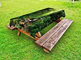 Ambesonne Nature Outdoor Tablecloth, Into The Woods Idyllic Forest Greenland Dreamy Mystic Fresh Tropical View, Decorative Washable Picnic Table Cloth, 58 X 104 inches, Emerald Hunter Green