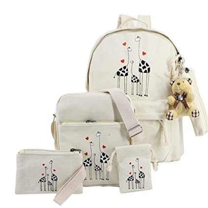 93d8ce8bf5f6 Amazon.com   CNMXNBea Canvas Printing Giraffe Bag 5 Piece Set Backpack  Women School Bags For Teenage Girls black   Sports   Outdoors