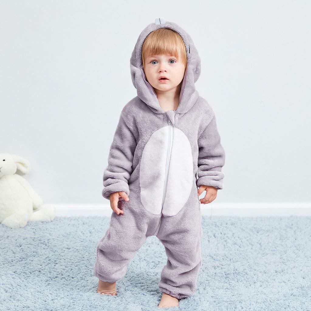 Adagod Little Mice Newborn Baby Girl Boy Cartoon Animal Hooded Flannel Romper Jumpsuit Warm Clothes