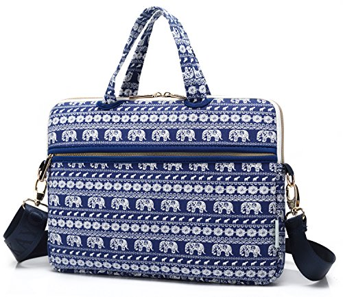 KAYOND Canvas Fabric Portable Messenger cross-body Shoulder Neoprene Laptop / Notebook Computer / Macbook Sleeve Office Tote Briefcase Carry Case, 13.3inch - Elephant pattern Blue