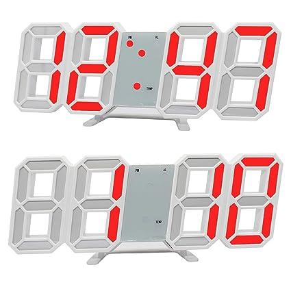 Relojes de pared electrónicos de la oficina del reloj de alarma de 3D LED, exhibición de 24/12 horas ...